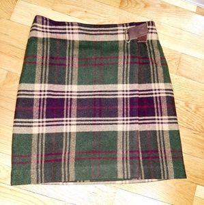 Adorable wool blend tartan wrap skirt